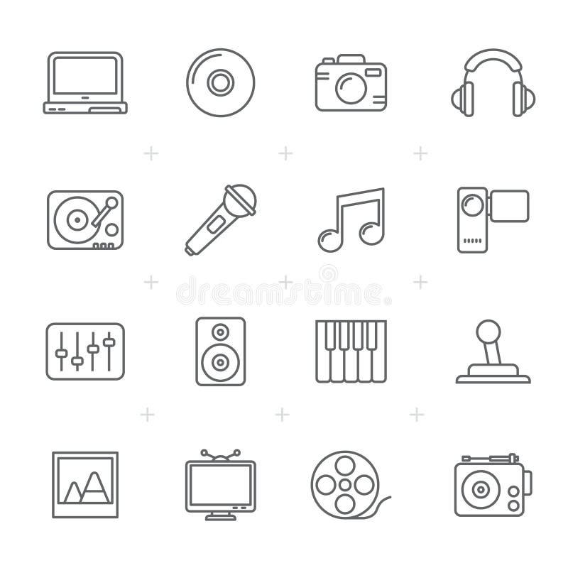 Kreskowi środki, rozrywka i technologii ikony, ilustracji