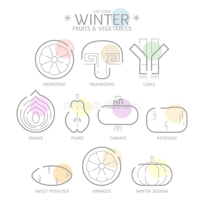 Kreskowi ikony zimy owoc i warzywo z Colour punktem, wektor ilustracji
