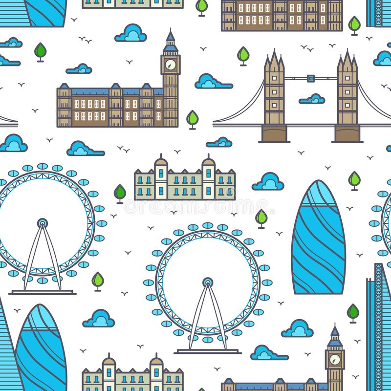 Kreskowi Londyn mosty, linie horyzontu i widoku bezszwowy wzór, royalty ilustracja