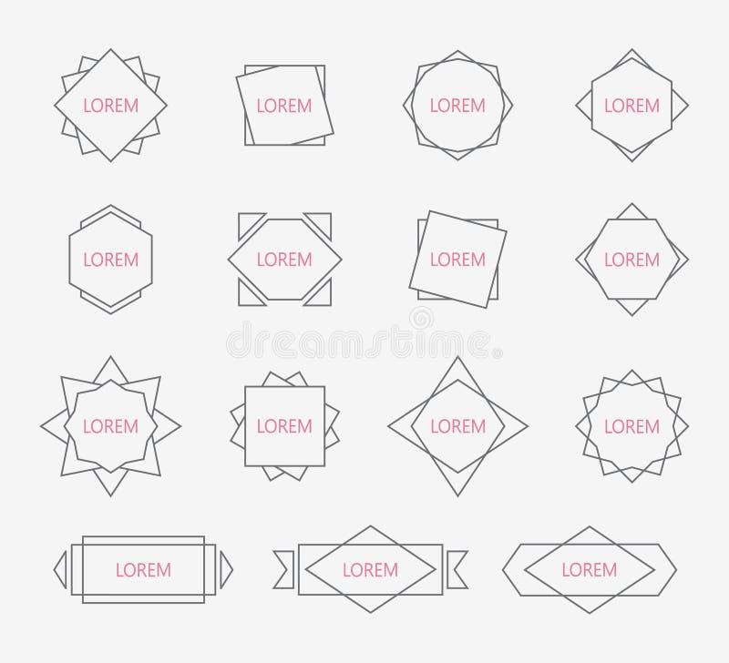 Kreskowi projektów elementy Ustalone geometryczne etykietki, znaki ilustracji