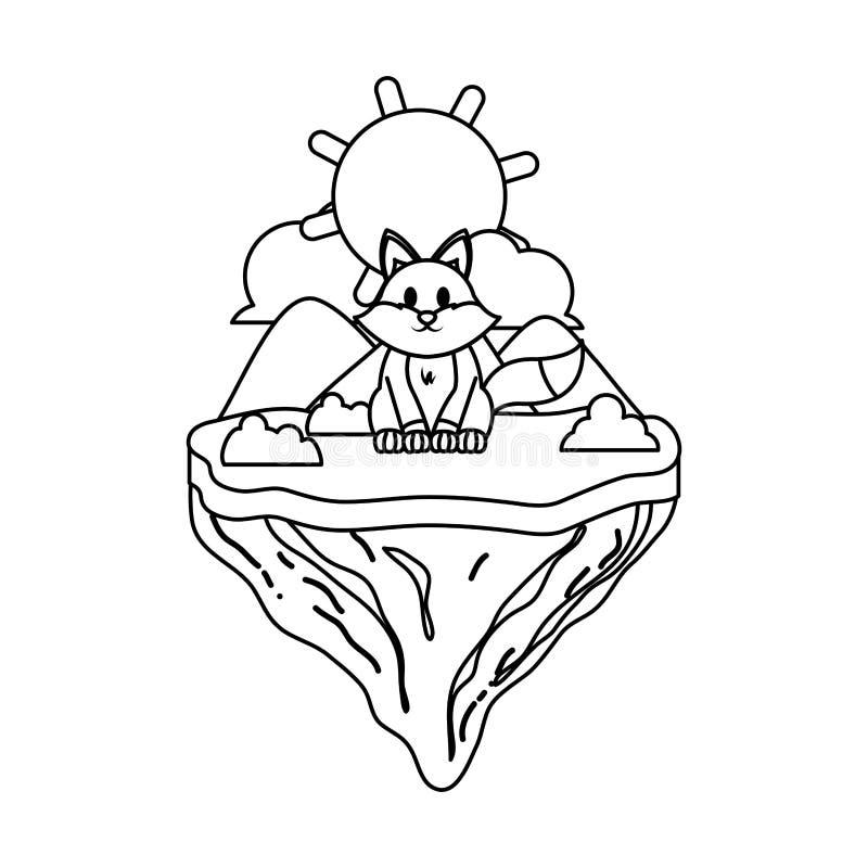 Kreskowy śliczny lisa zwierzę w pływakowej wyspie ilustracji