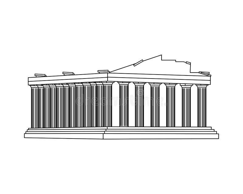 Kreskowy średniowieczny Athens architektury clastle projekt ilustracja wektor