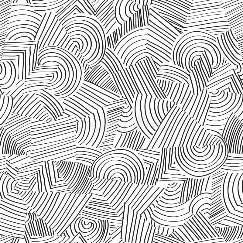 Kreskowy bezszwowy wzór Abstrakcjonistycznego doodle geometryczny ornament ilustracji