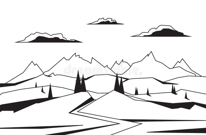 Kreskowy góry tło z drogą, sosnami i wzgórzami, ilustracji