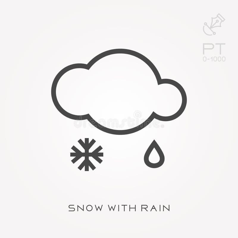 Kreskowy ikona śnieg z deszczem ilustracja wektor