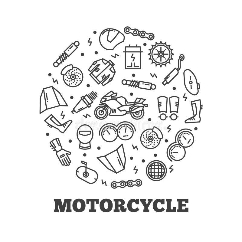 Kreskowy ikony moto rozdziela motocykl royalty ilustracja