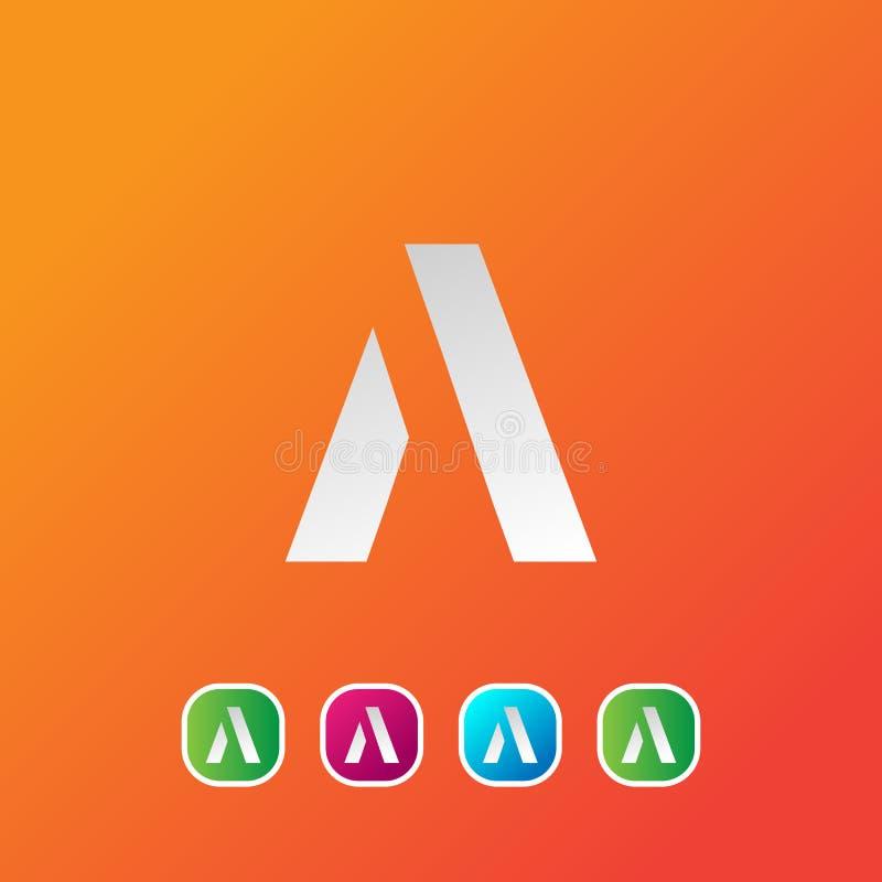 Kreskowy listu A logotyp Abstrakcjonistyczny poruszający powiewny logo ikony projekt, gotowego symbolu wektoru kreatywnie znak royalty ilustracja