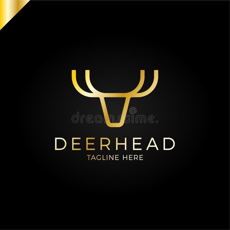 Kreskowy logotyp jest minimalistyczny w postaci jeleniej głowy z poroże królewskimi, luksusu srebny metal royalty ilustracja