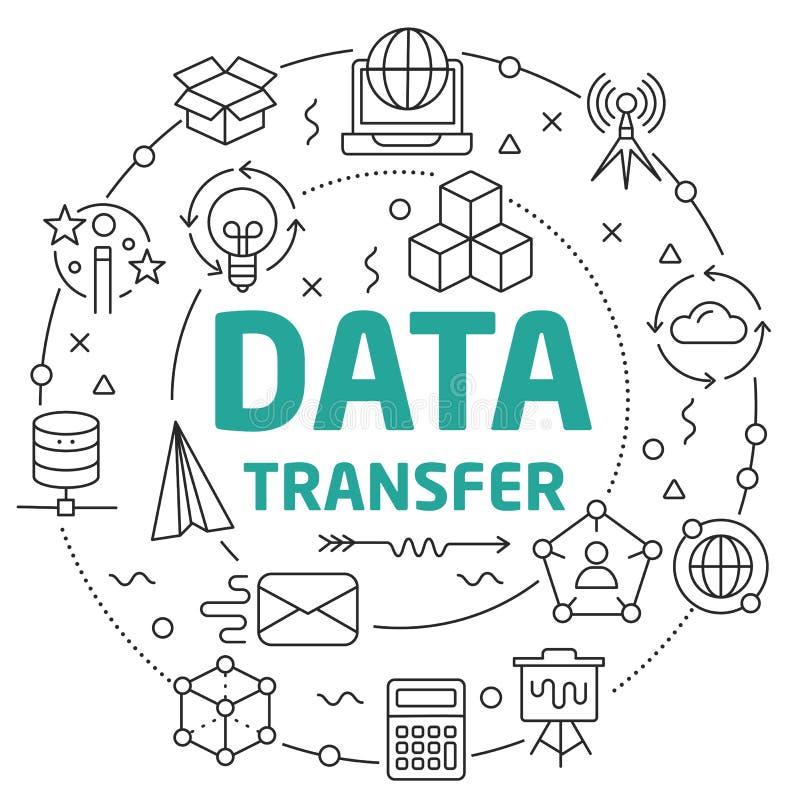 Kreskowy Płaski okrąg ilustraci transfer danych ilustracji