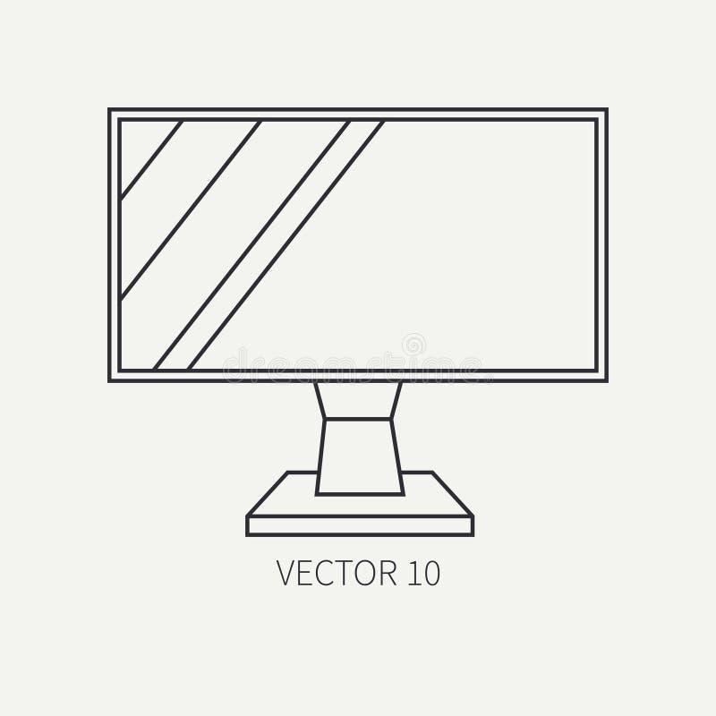 Kreskowy płaski wektorowego komputeru części ikony lcd monitor Kreskówka styl Cyfrowego hazardu i biznesowego biura komputeru oso royalty ilustracja