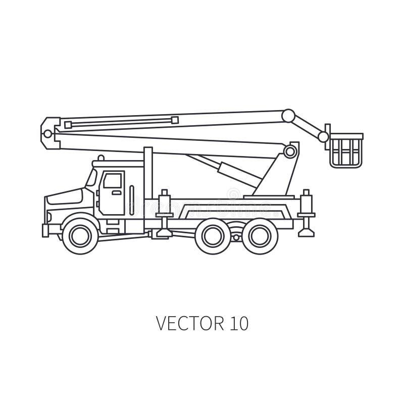 Kreskowy płaski wektorowy ikony budowy maszynerii ciężarówki samochodu żuraw Przemysłowy styl Korporacyjna ładunek dostawa dźwign royalty ilustracja