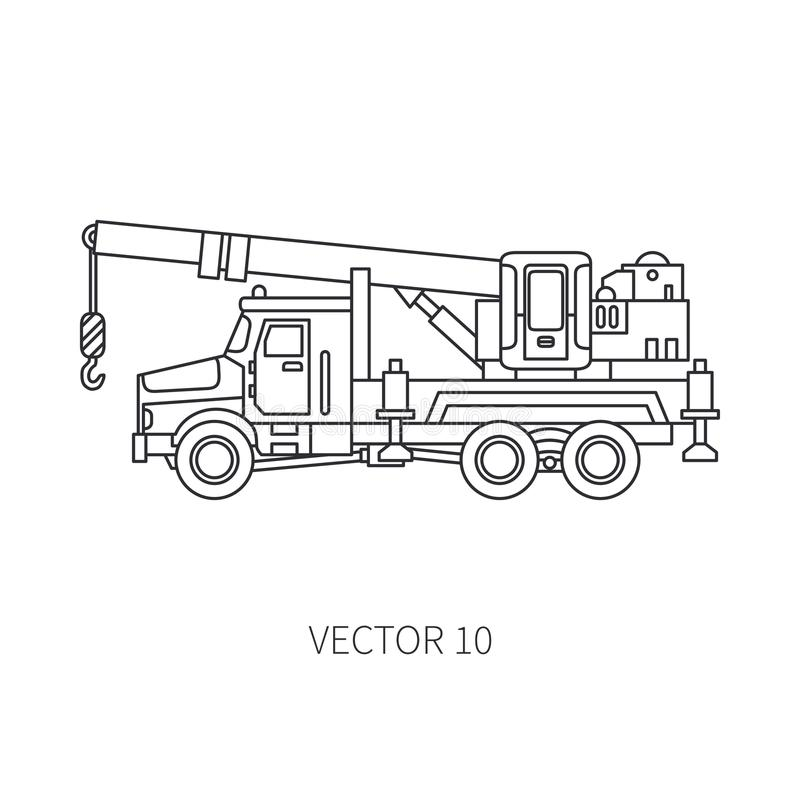 Kreskowy płaski wektorowy ikony budowy maszynerii ciężarówki samochodu żuraw Przemysłowy styl Korporacyjna ładunek dostawa dźwign ilustracji