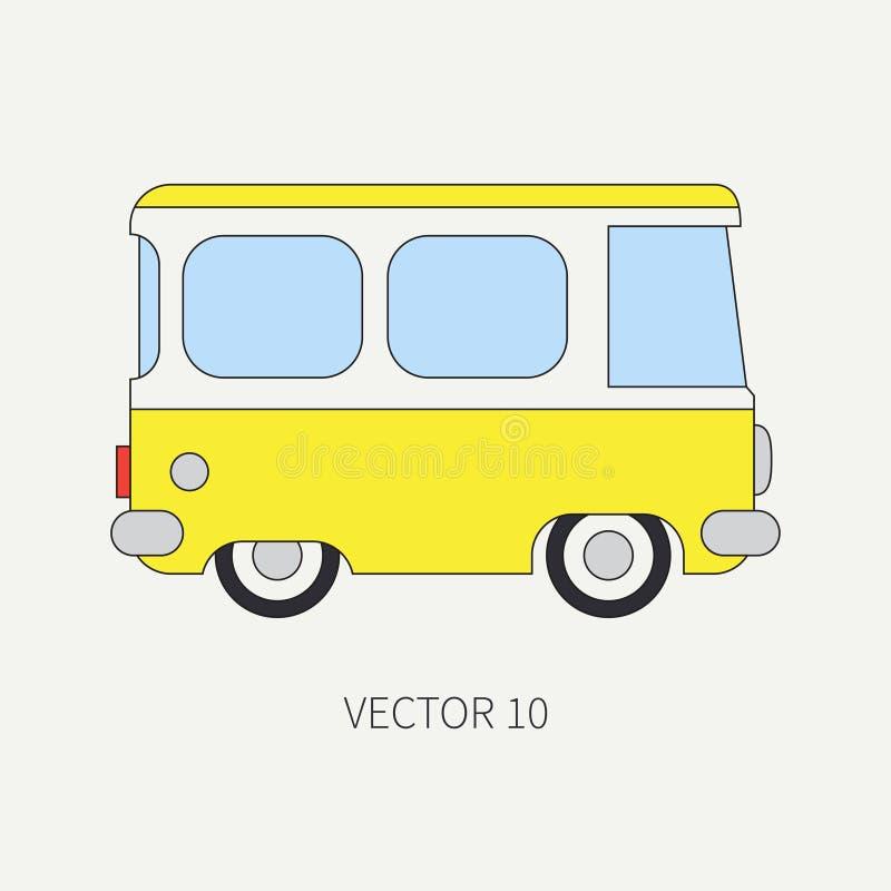 Kreskowy płaski wektorowy kolor ikony minibusa taxi samochód Handlowy pojazd Kreskówka rocznika styl transport _ ilustracji