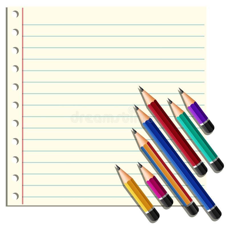 Kreskowy papierowy i wiele ołówki na dobrze ilustracja wektor