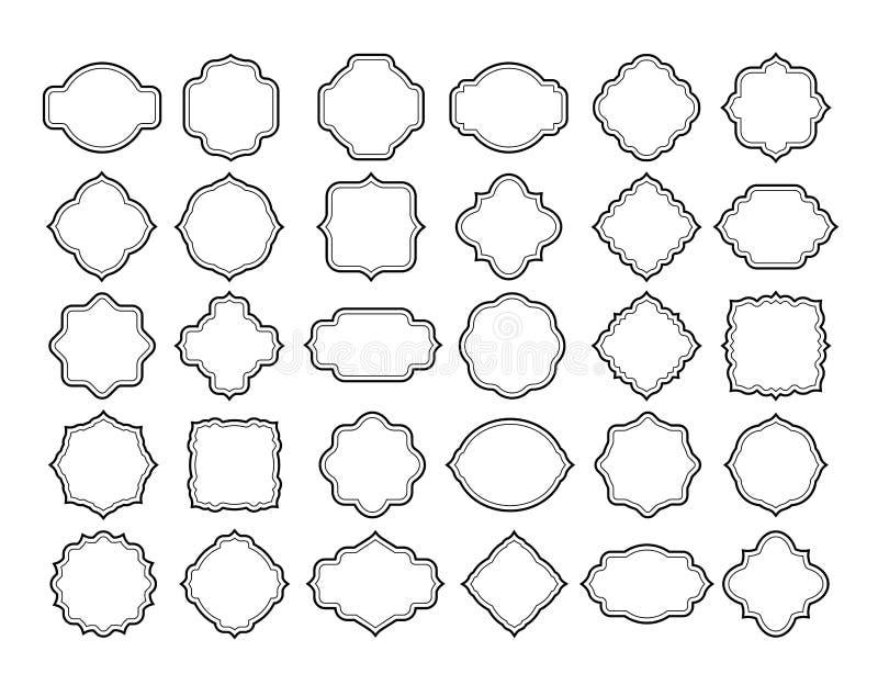 Kreskowy ramowy etykietka set Rocznik odznaki puści ozdobni kształty Retro biała klasyczna etykietka, zaproszenie karciana dekora ilustracji