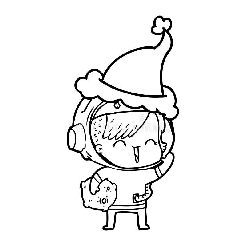 kreskowy rysunek szcz??liwej spacegirl mienia ksi??yc Santa rockowy jest ubranym kapelusz royalty ilustracja