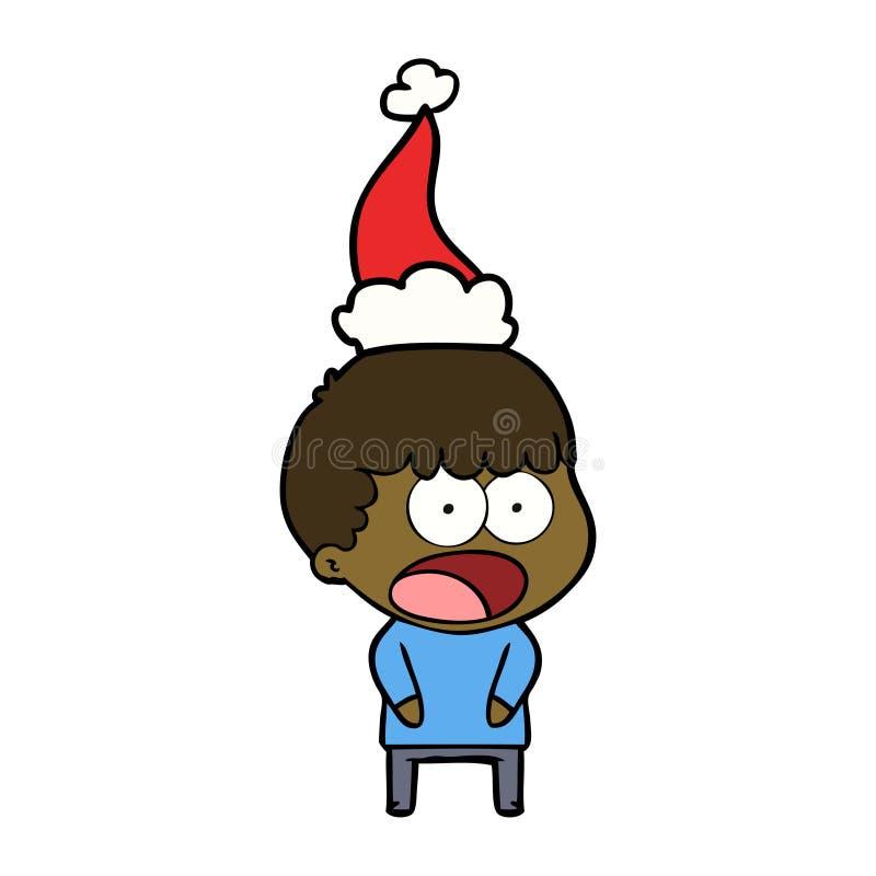 kreskowy rysunek szokujący mężczyzna jest ubranym Santa kapelusz ilustracji