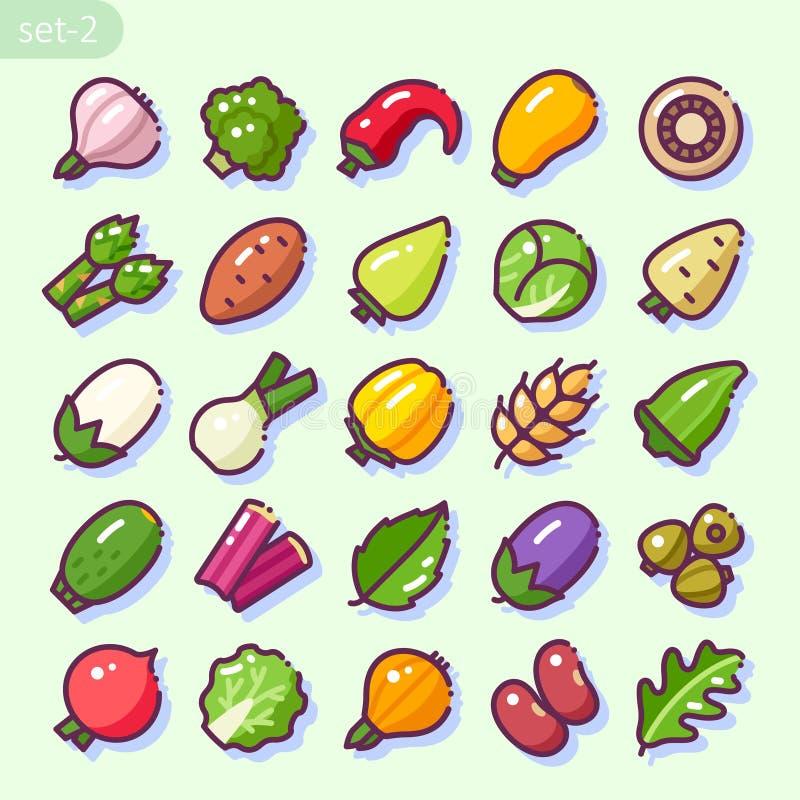 Kreskowy styl ustawiający 2 Warzywa ilustracja wektor