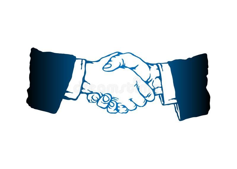 Kreskowy sylwetka uścisku dłoni symbol ilustracja wektor