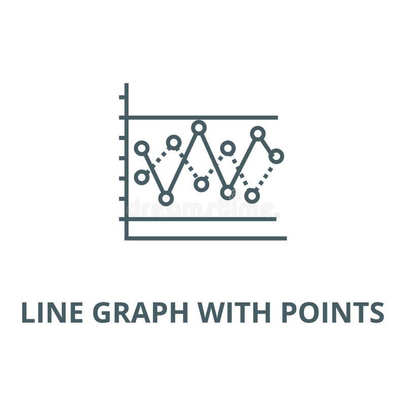 Kreskowy wykres z punktu wektoru linii ikoną, liniowy pojęcie, konturu znak, symbol ilustracji