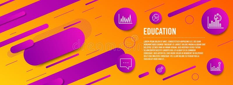 Kreskowy wykres, zegar ikony ustawiać, celu i raportu Blog, Pasztetowa mapa i skuteczność znaki, Targowy diagram, Celuje wektor ilustracji
