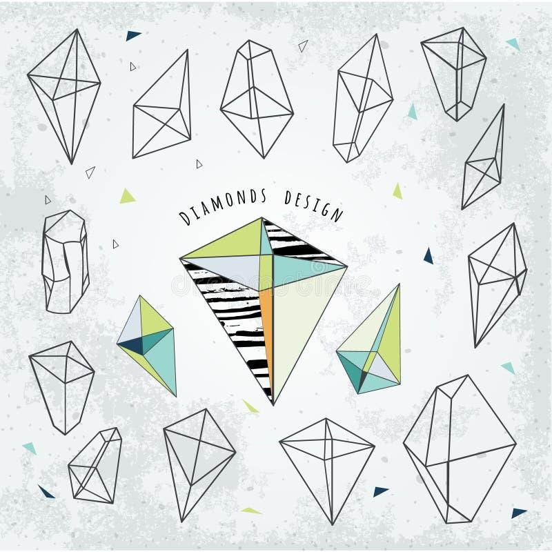 Kreskowych kształtów cristal geometria Diamentu projekt Alchemia, religio royalty ilustracja