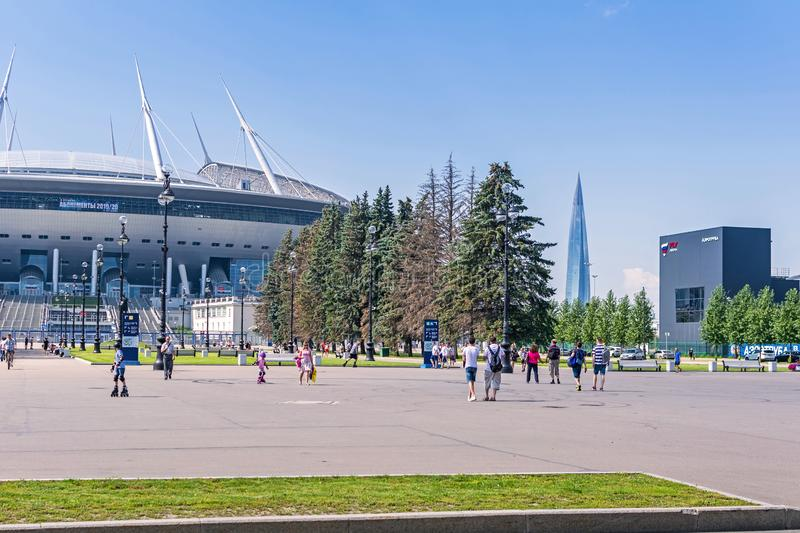Krestovsky Island with Gazprom Arena, wind tunnel Fly Arena and the tower of Lakhta Center in Saint Petersburg, Russia. Saint Petersburg, Russia -  July 27, 2019 royalty free stock photo