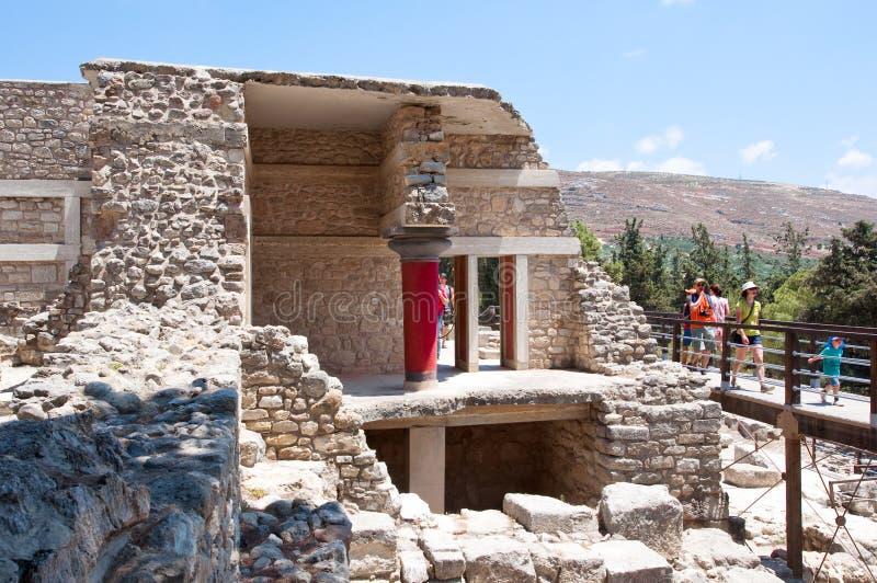 21 Kreta-JULI: Knossospaleis op het Eiland Kreta op 21,2014 Juli in Griekenland royalty-vrije stock afbeelding