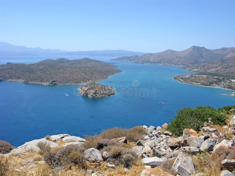 Kreta, Mirabello-Bucht mit Spinalonga-Festung lizenzfreies stockfoto