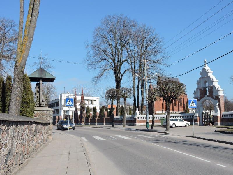 Kretinga stad, Litauen arkivbild