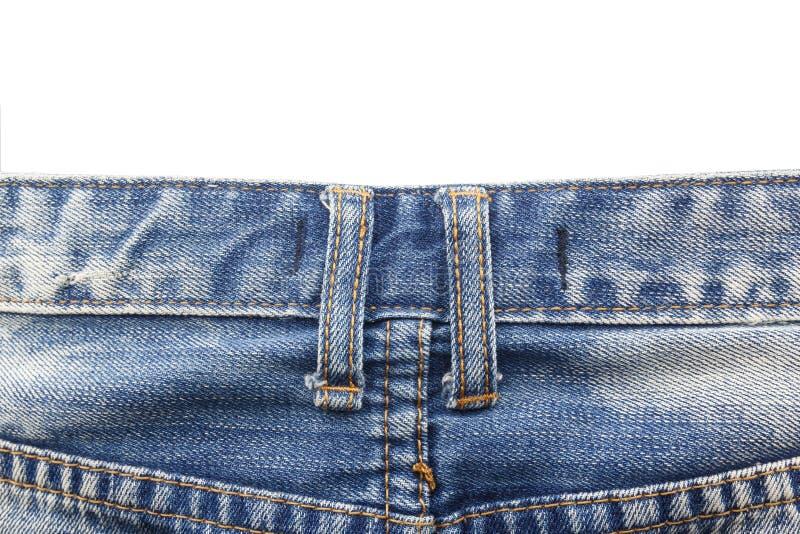 Kretsar det övre bältet för slutet på jeans som isoleras på vit bakgrund fotografering för bildbyråer