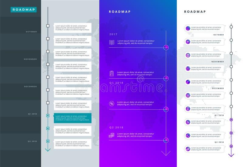 Kretsschemauppsättning Linjer pilar, timeline För registrering av platser en färdplan för starter, polygraphy, infographics, affi stock illustrationer