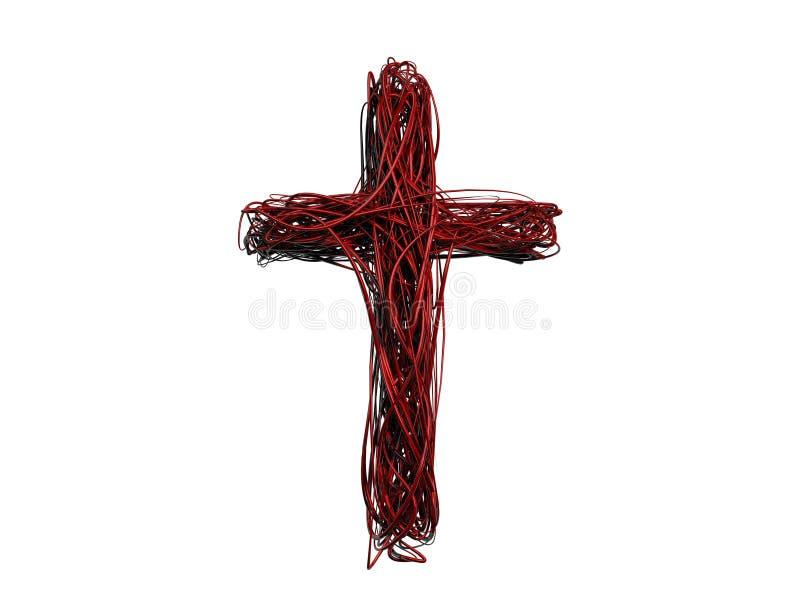 Kreuz 3D der roten Dornen lizenzfreie abbildung