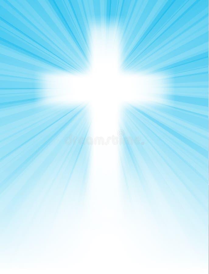 Kreuz auf blauem Himmel, mit Sonnestrahlen stock abbildung