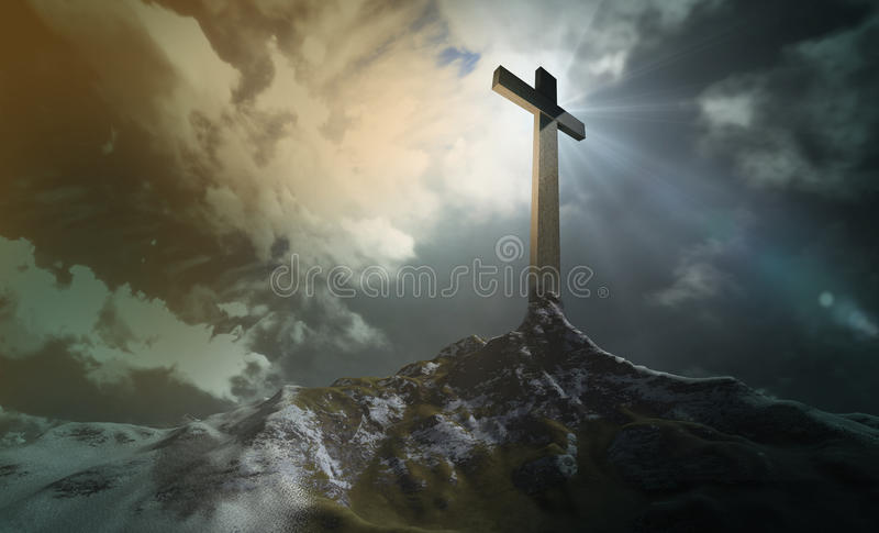 Kreuz auf dem Hügel stock abbildung