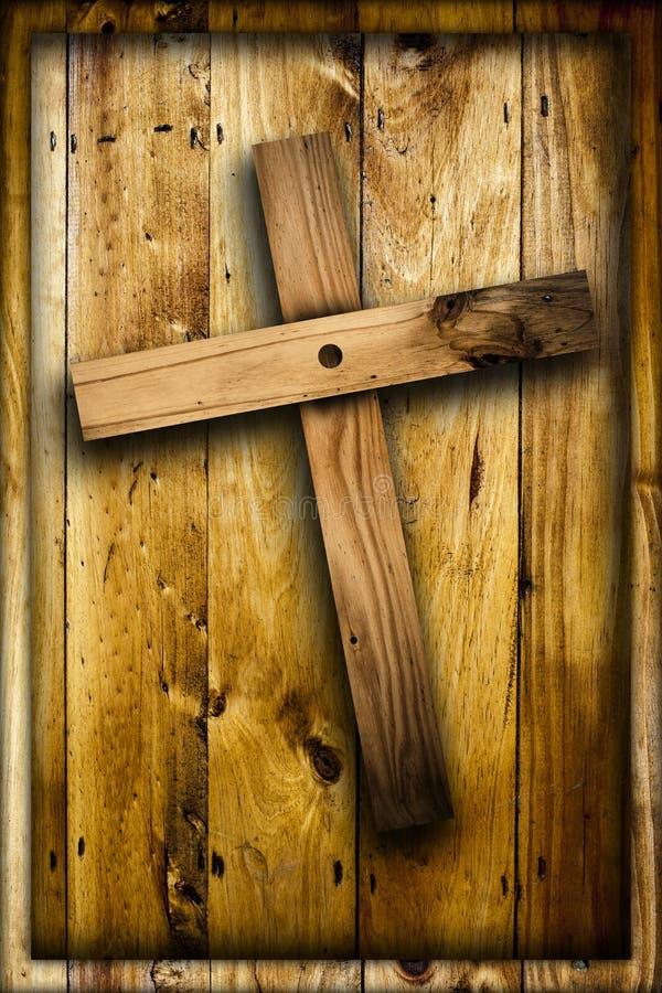 Kreuz auf hölzernem Hintergrund stockfotos