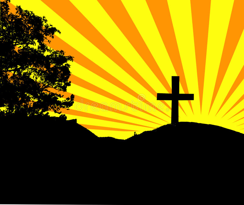 Kreuz auf Hügel vektor abbildung