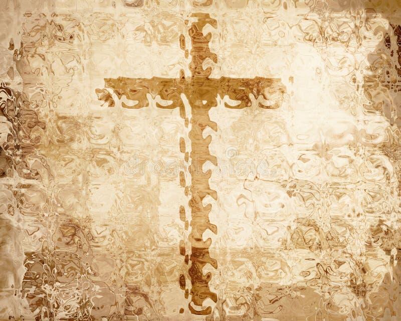 Kreuz auf Pergament lizenzfreie abbildung