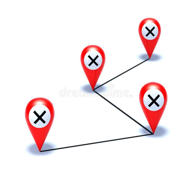 Kreuz auf roter Nadelanzeige stock abbildung
