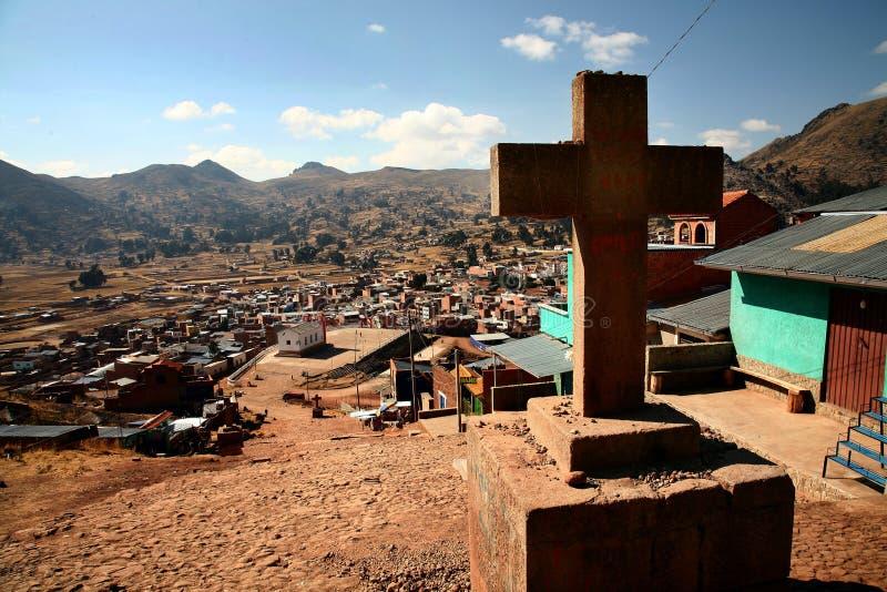 Kreuz in Copacabana, Bolivien lizenzfreies stockfoto
