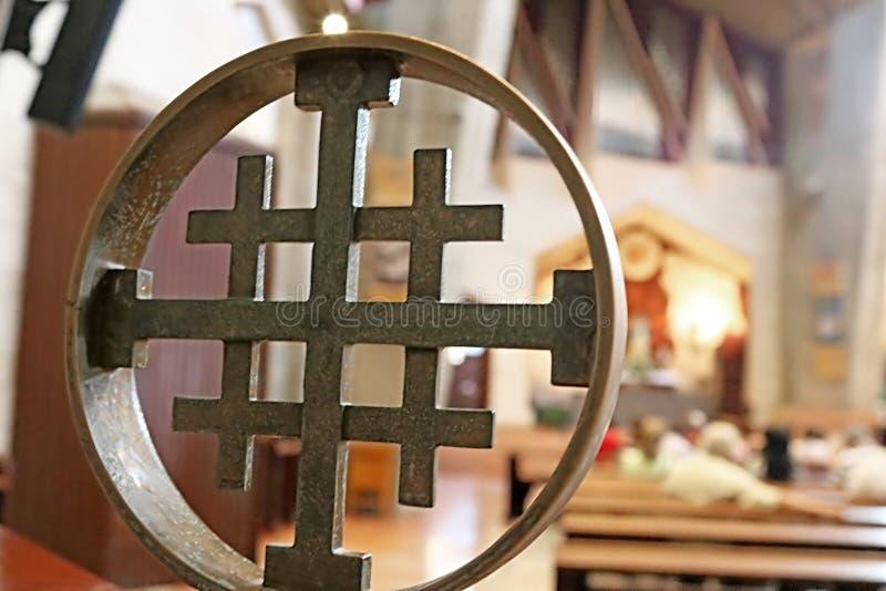 Kreuz in der Basilika der Ankündigung, Nazaret, Israel lizenzfreie stockfotografie