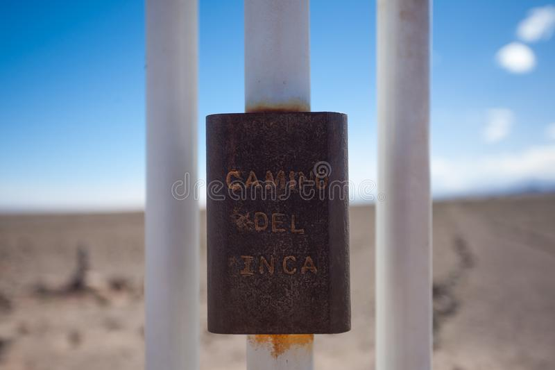 Kreuz entlang Inkaspur, San Pedro de Atacama, Chile lizenzfreies stockbild