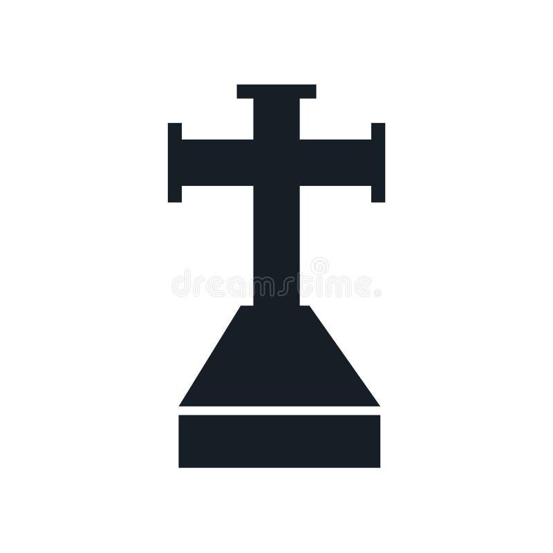 Kreuz gehaftet im Grundikonenvektorzeichen und Symbol lokalisiert auf weißem Hintergrund, Kreuz gehaftet im Grundlogokonzept vektor abbildung