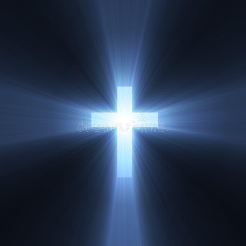 Kreuz mit blauen hellen Aufflackern lizenzfreie abbildung