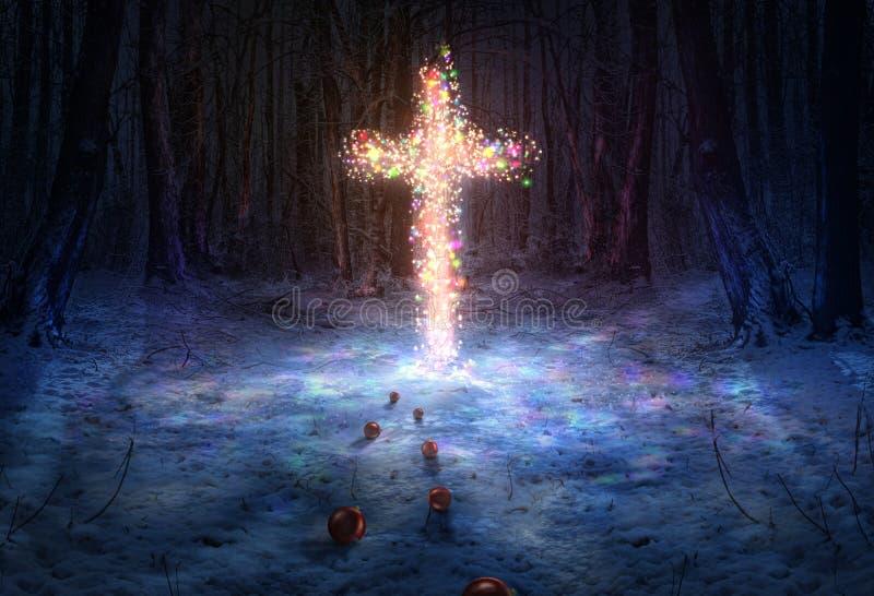 Kreuz mit Weihnachtsdekorationen lizenzfreie stockbilder