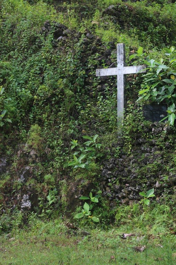Kreuz mitten in Grün stockfotos