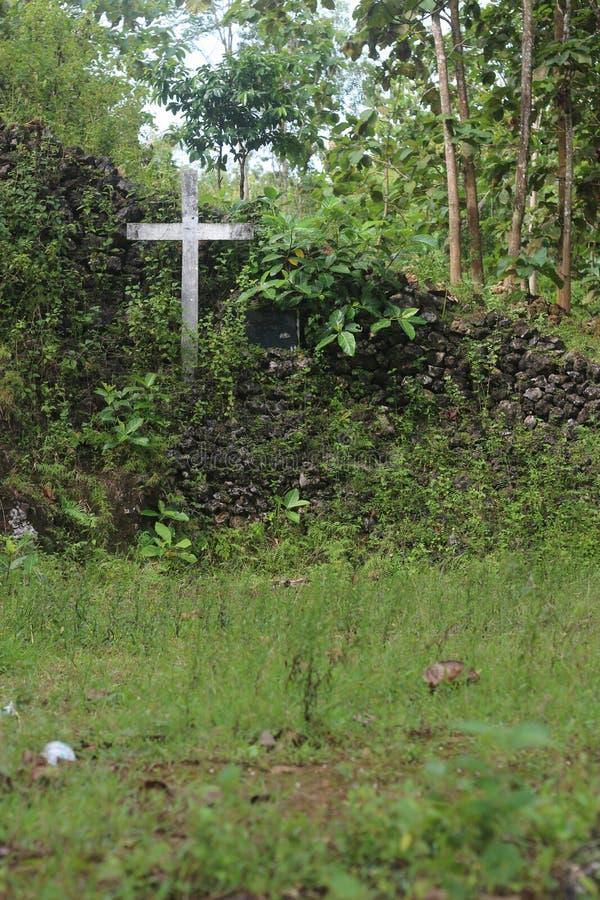 Kreuz mitten in Grün lizenzfreie stockfotos