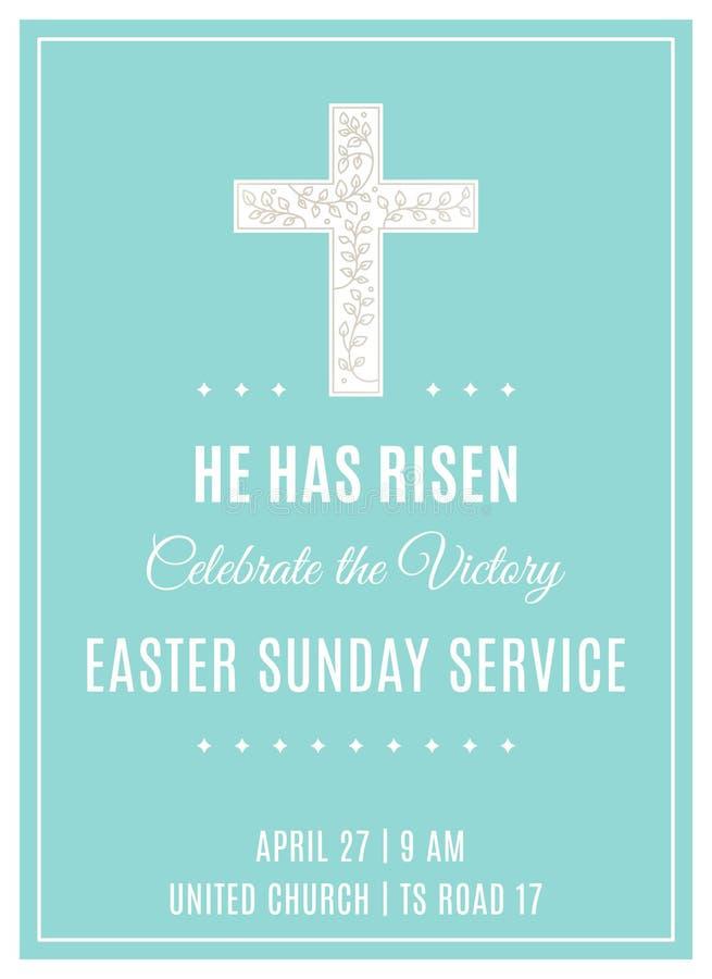 Kreuz und Blumen Ostern-Sonntagsgottesdienst Christian Church Poster Template lizenzfreie abbildung