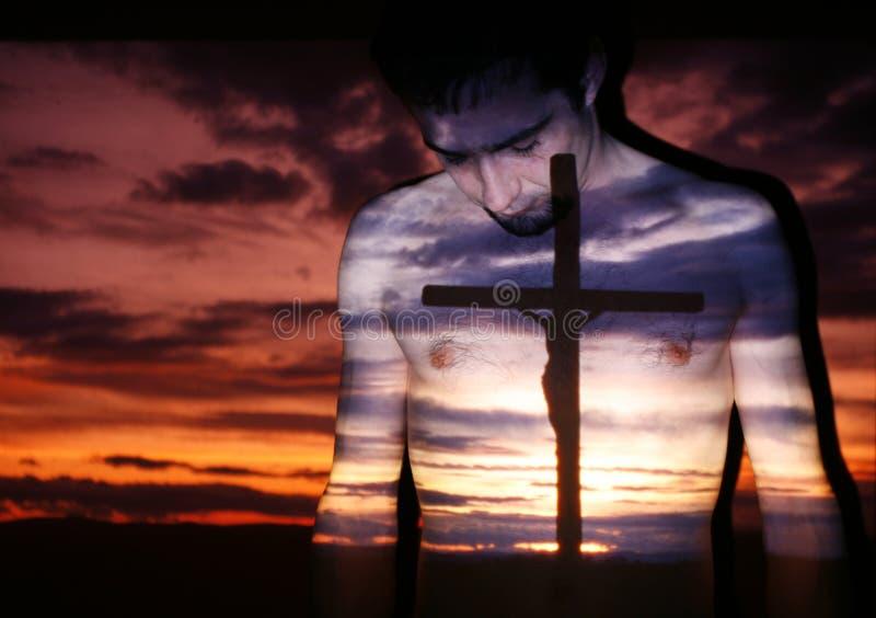 Kreuz und Gebet lizenzfreie stockfotografie