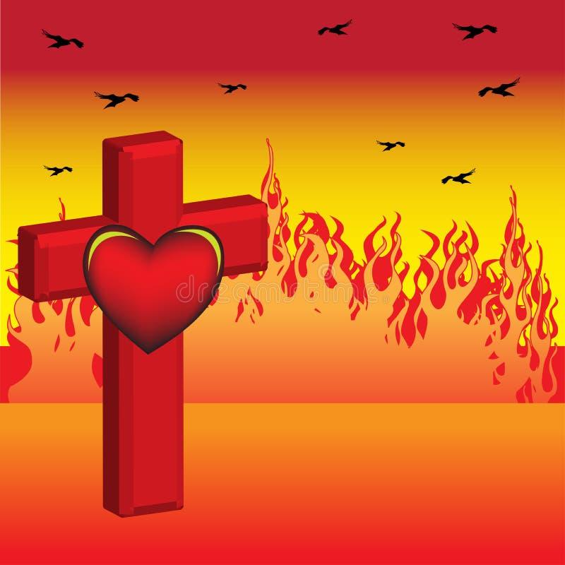 Kreuz und Inneres stock abbildung